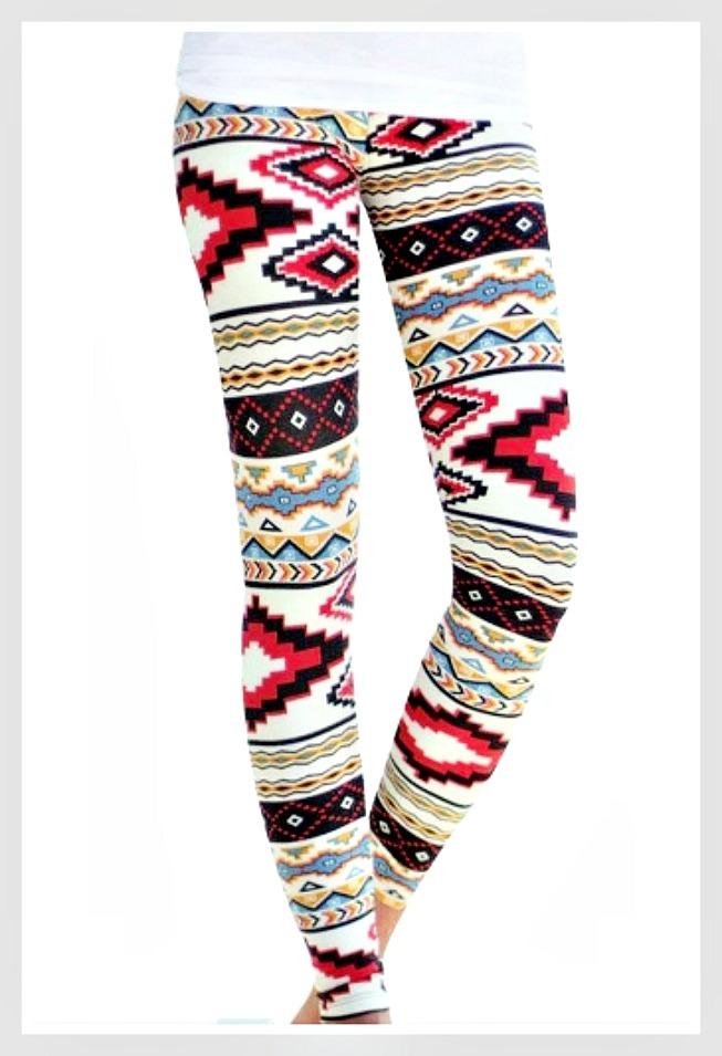 WESTERN COWGIRL LEGGINGS Tribal Aztec Print Stretchy Leggings