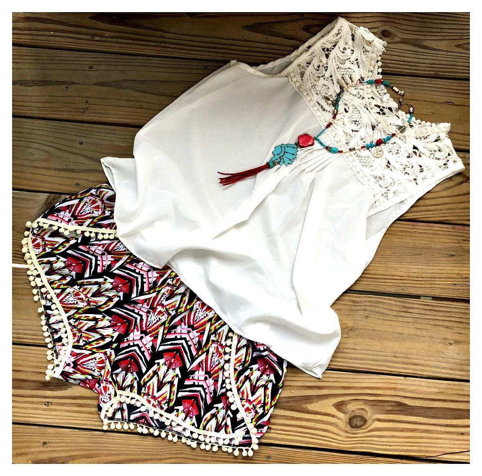 READY to VACAY SHORTS Cream Pom Pom Trim on Black White Pink Lime Green Tribal Pattern Boho Shorts