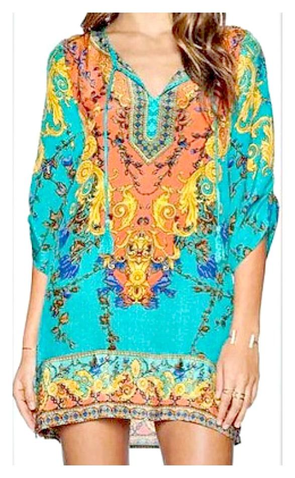WILDFLOWER DRESS Tribal Print Multi Color Boho Mini Dress