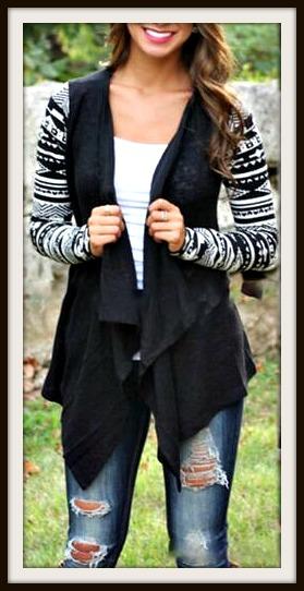 Cowgirl Gypsy Cardigan Tribal Color Knit Long Sleeve