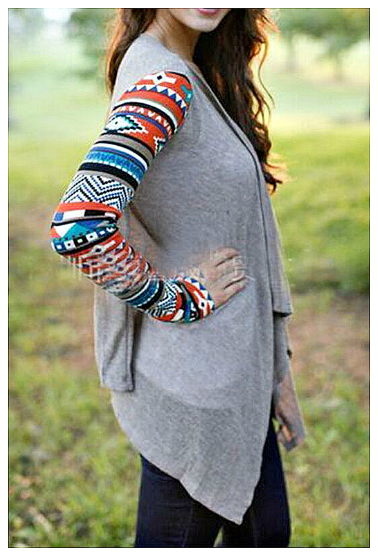 COWGIRL GYPSY SWEATER Multi Color Tribal Long Sleeve Grey Jersey Cardigan ONLY 2 L/XL LEFT!