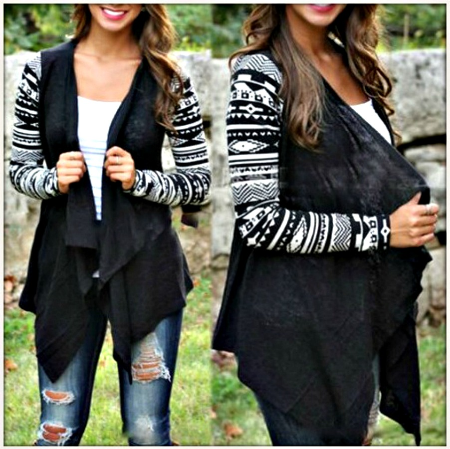COWGIRL GYPSY SWEATER Black and White Tribal Long Sleeve Western Cardigan  LAST ONE L/XL
