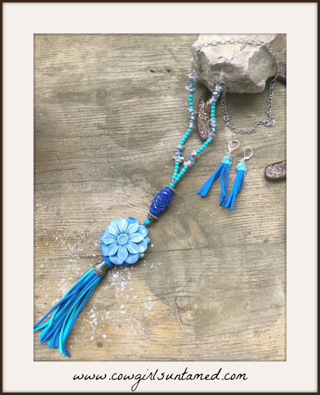 BOHEMIAN COWGIRL NECKLACE Blue Shell Flower & Turquoise Leather Tassel Necklace & FREE EARRINGS