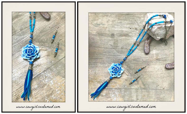 BOHEMIAN COWGIRL NECKLACE Shades of Blue Peony & Two Tone Leather Tassel Necklace & FREE EARRINGS