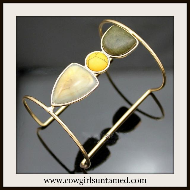 WILDFLOWER CUFF Triple Stone Open Goldtone Boho Cuff Bracelet