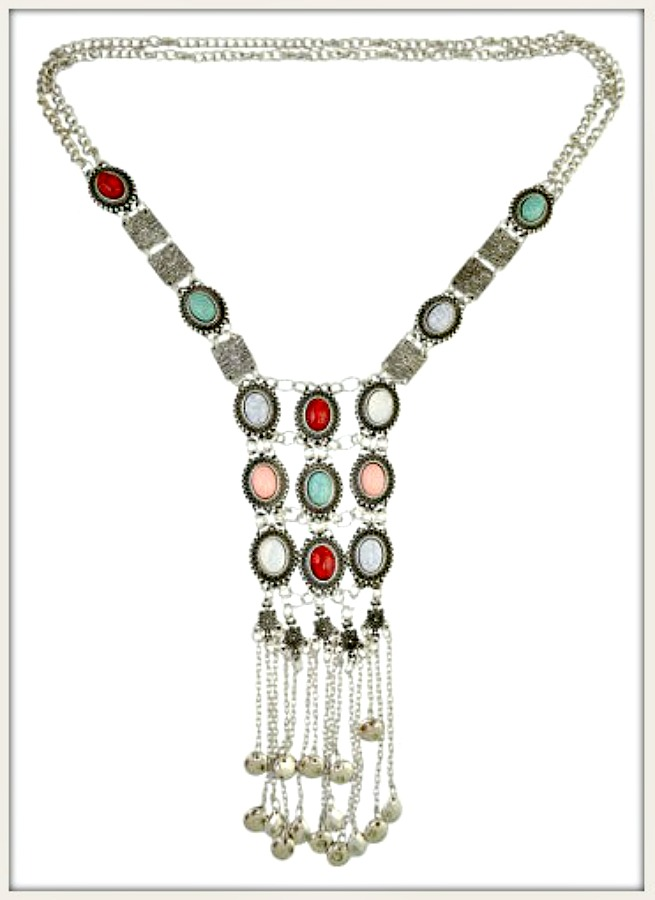 VINTAGE BOHEMIAN NECKLACE Antique Silver Multi Color Stone Long Necklace