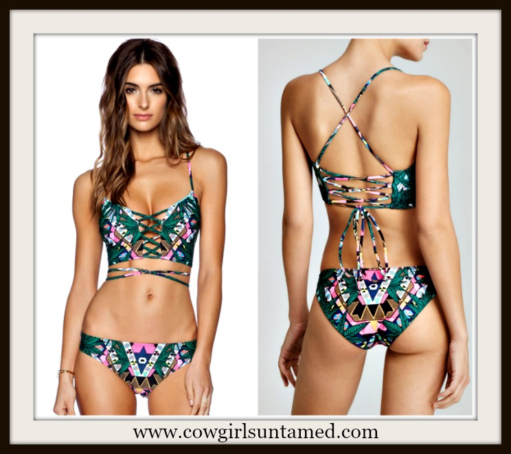 SUNDANCE COWGIRL BIKINI Tropical Aztec Print Lace Up Front Strappy Back Bikini Set