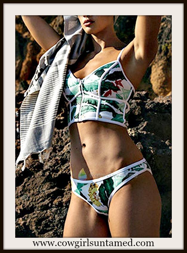 SUNDANCE COWGIRL BIKINI Green Tropical Floral Push Up Padded White Bandage Bikini