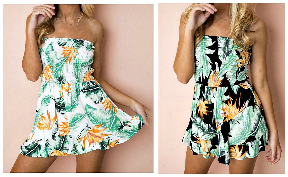 TROPICAL ROMPERS Strapless Smocked Top Ruffle Hem Tropical Pattern Shorts Romper Jumper 2 COLORS