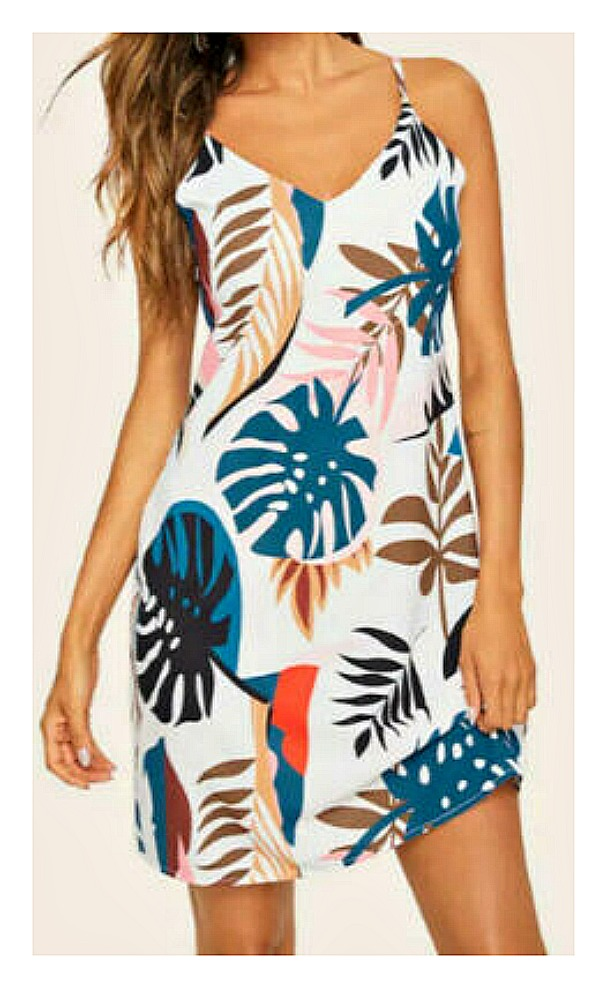 SWEET TAHITI DRESS Multi Color Tropical Leaf on White Sleeveless A-line Mini Dress LAST ONE XL