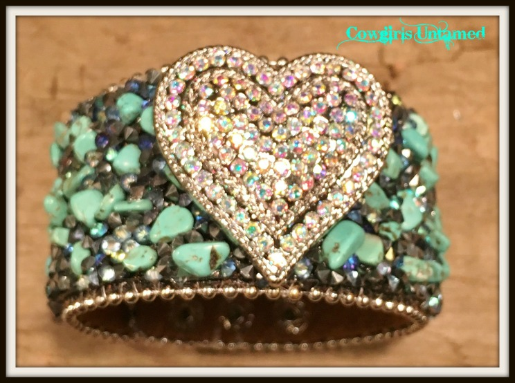COWGIRL STYLE CUFF Rhinestone Silver Heart on Turquoise Chip Black Bracelet