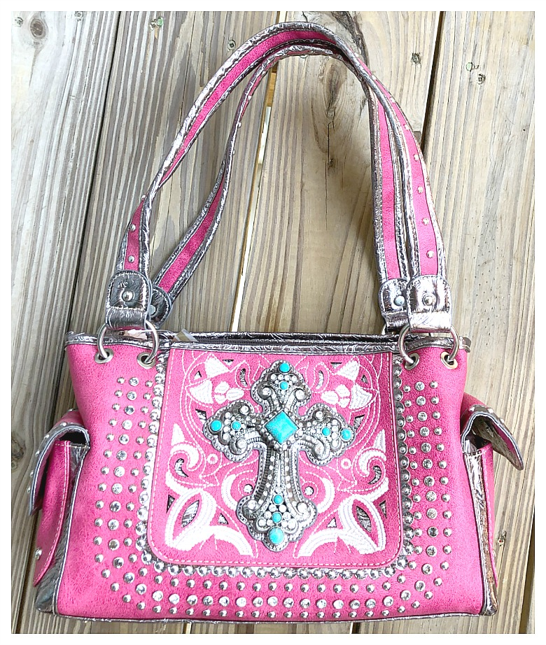 WESTERN COWGIRL HANDBAG Silver N turquoise Cross on Pink Rhinestone Studded Handbag LAST ONE