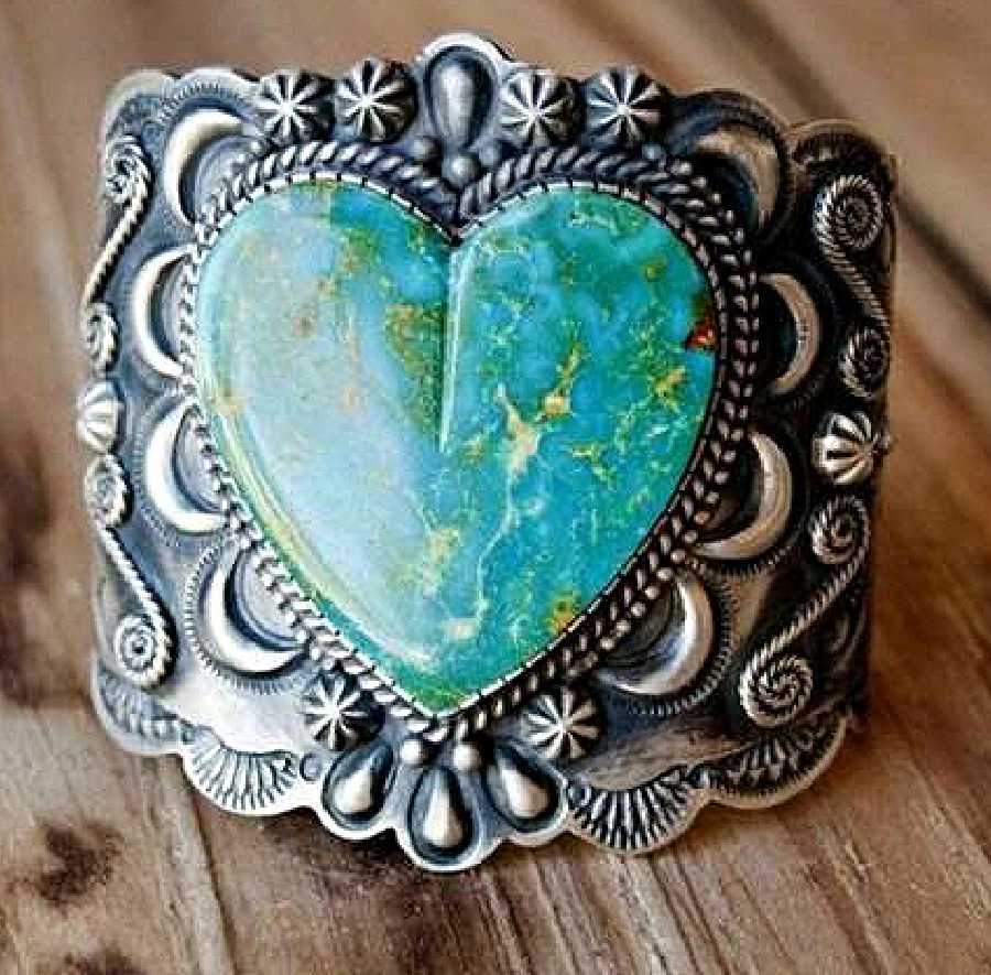 TELL IT TO MY HEART RING 925 Sterling Silver Plated Turquoise Heart Womens Ring Sz 7 or 8