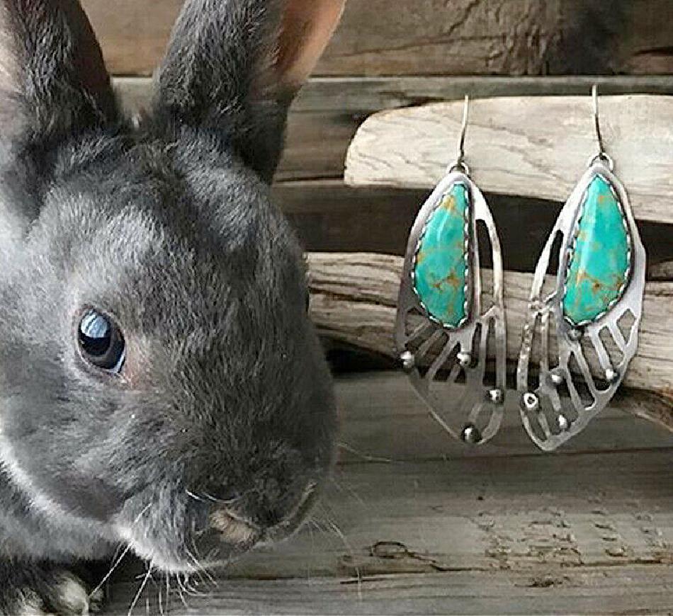 FAIRY WING EARRINGS 925 Sterling Silver & Turquoise dangle Earrings