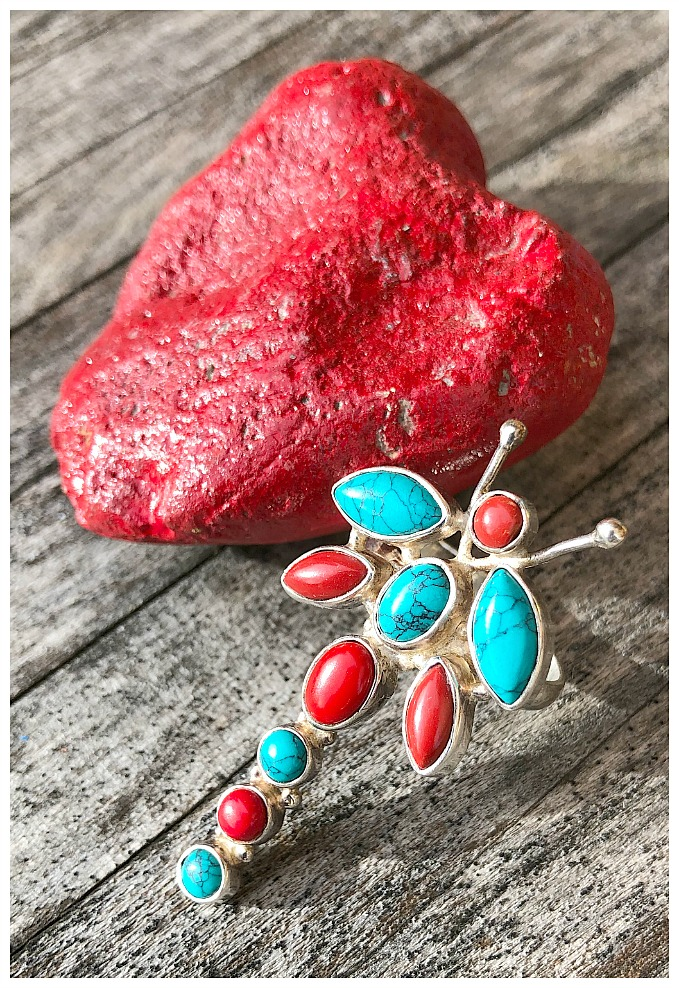 INDIAN RING Turquoise and Coral Large Dragonfly Sterling Silver Boho Western Ring