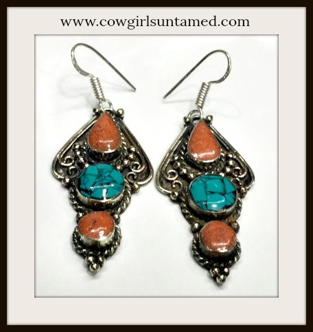 COWGIRL GYPSY EARRINGS Red Coral Turquoise Boho Earrings