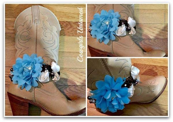 Wild Flower Boot Garter Turquoise Blue Cream Amp Brown