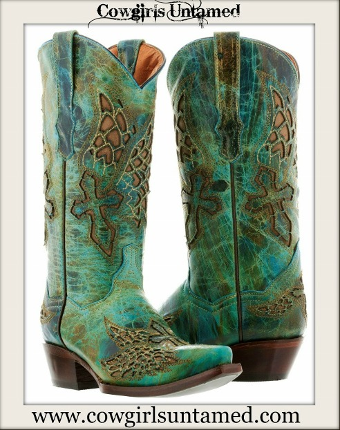 RODEO REBEL BOOTS Turquoise GENUINE LEATHER with Brown Embroidrered Cross Angel Wings Cowgirl Boots