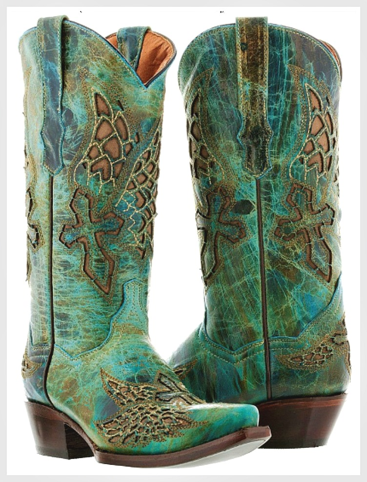 RODEO REBEL BOOTS Turquoise GENUINE LEATHER with Brown Embroidrered Cross Angel Wings Cowgirl Boots Sizes 5-11