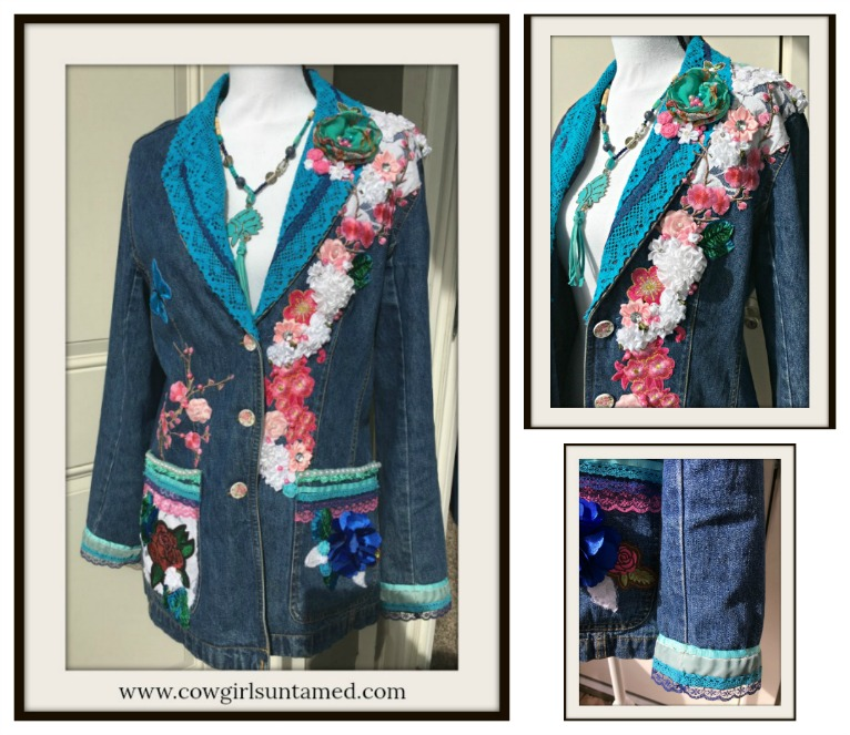 COWGIRL GYPSY JACKET Embellished Floral Cherry Blossom Embroidery and Silk & Bejeweled  and lace Jean Jacket