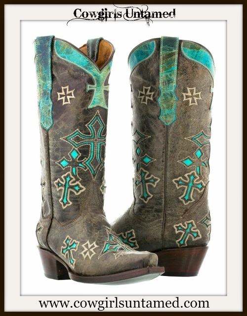 RODEO REBEL BOOTS Turquoise N Brown GENUINE LEATHER with Cross Cowgirl Boots