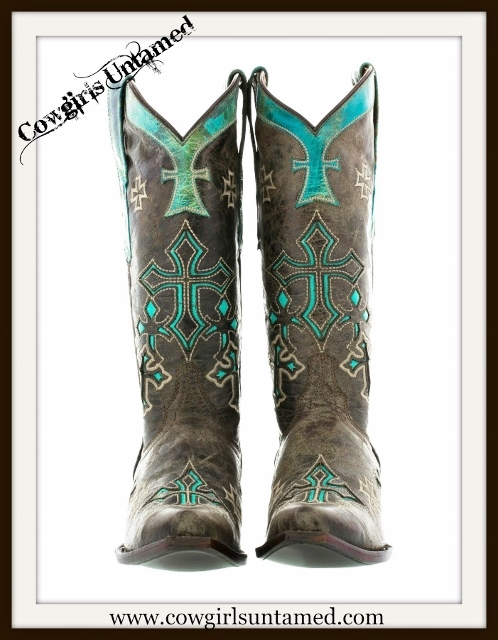 Rodeo Rebel Boots Turquoise N Brown Genuine Leather With