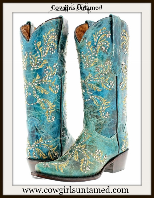 COWGIRL STYLE BOOTS Tan Rhinestone N Silver Studded Turquoise Genuine Leather Cowgirl Boots
