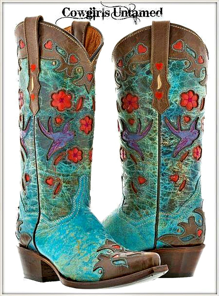 COWGIRL GYPSY BOOTS Bird and Floral inlay on Turquoise and Brown Genuine Leather Snip Toe Western Boots Size 5-10