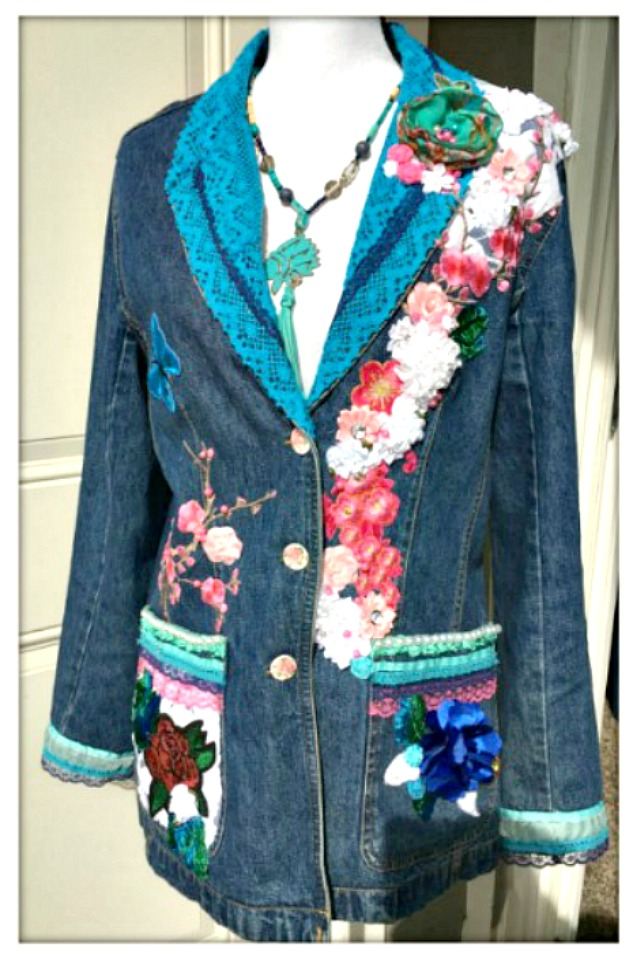 BOHO CHIC JACKET Embellished Floral Cherry Blossom Embroidery and Silk & Bejeweled  and lace Jean Jacket