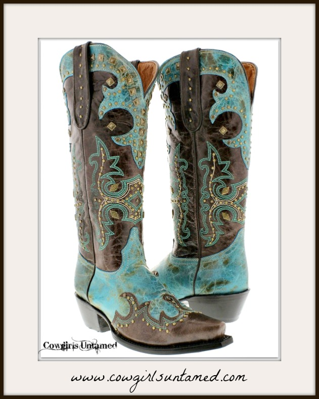 COWGIRL STYLE BOOTS Bronze Studded & Embroidered Brown Turquoise Boots