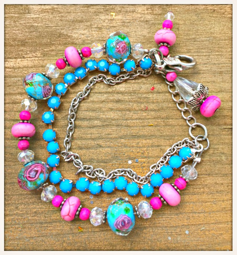 BOHO CHIC BRACELET Triple Strand Turquoise & Pink Beaded Crystal Vintage Style Bracelet