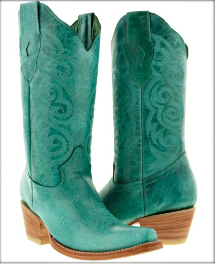 WILDFLOWER BOOTS Turquoise Embroidery Heel Snip Toe Leather Cowgirl Boots 5.5-6.5 left!