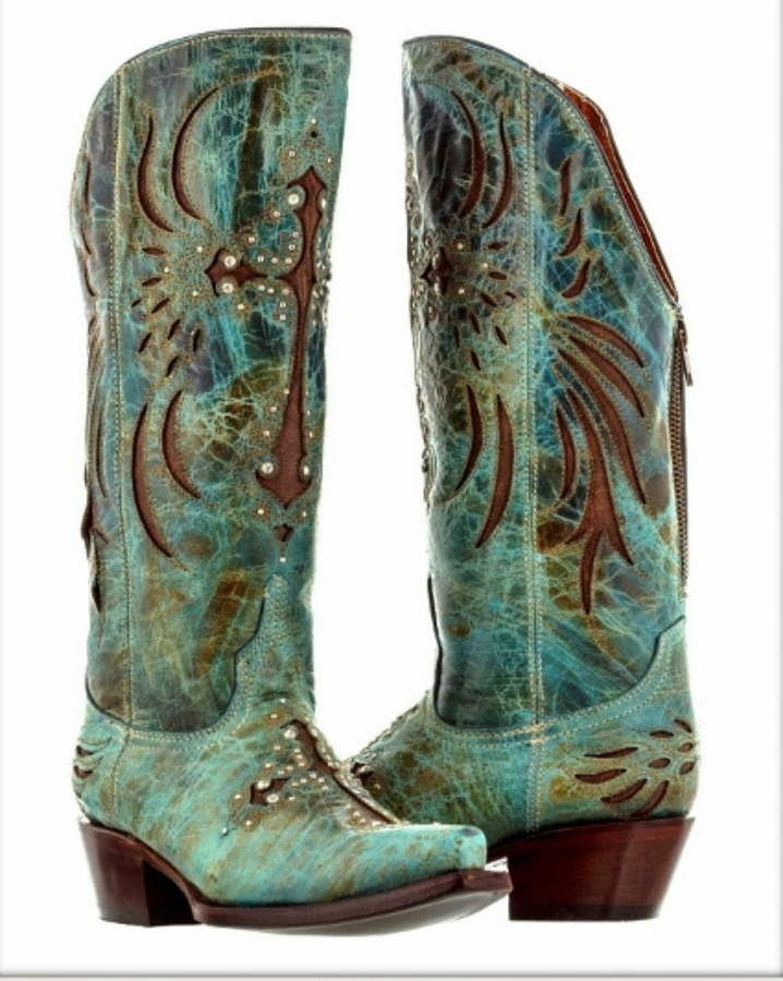 WESTERN COWGIRL BOOTS Zip Back Rhinestone Studded Cross Inlay on Turquoise Distressed GENUINE LEATHER Boots