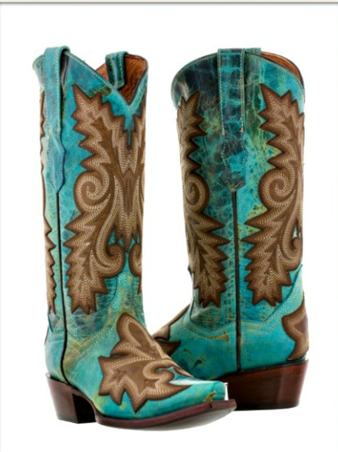 COWGIRL STYLE BOOTS Embroidered Turquoise GENUINE LEATHER Snip Toe Western Boots