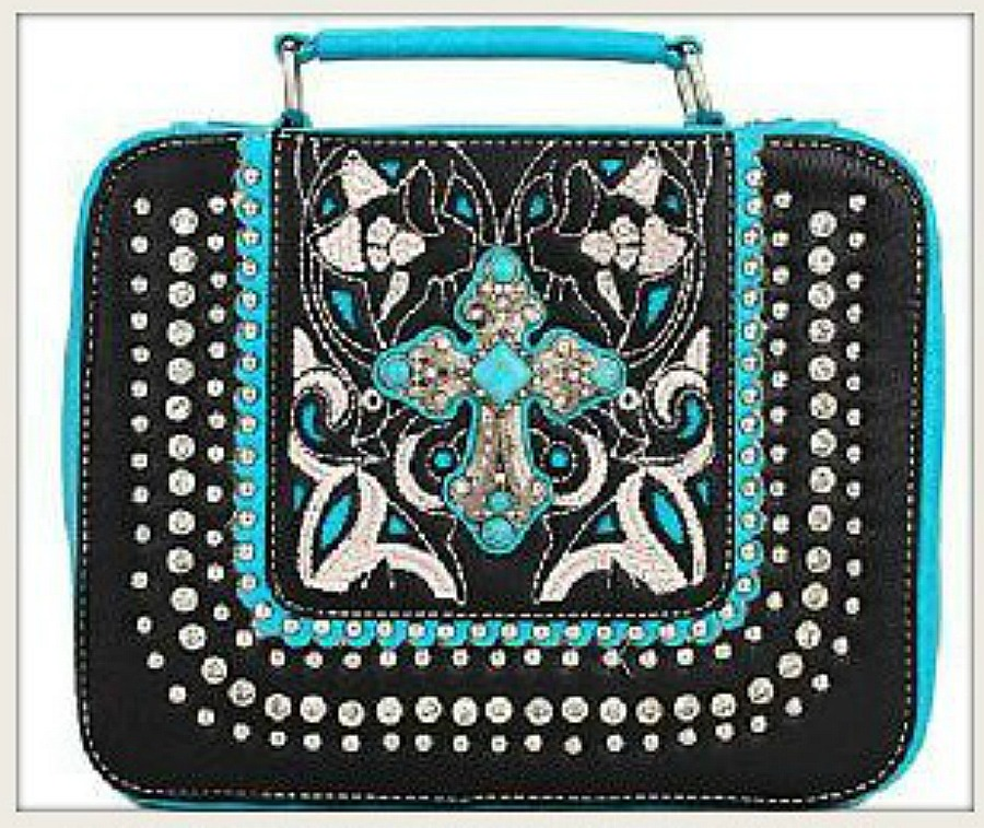 CHRISTIAN COWGIRL BIBLE COVER Turquoise and Silver Cross on Rhinestone & Silver Studded Bible Cover 2 COLORS