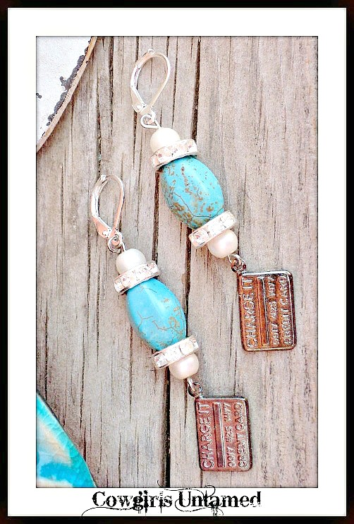 """COWGIRL GLAM EARRINGS Gunmetal """"CHARGE IT CREDIT CARD"""" Charm Turquoise Silver Earrings"""