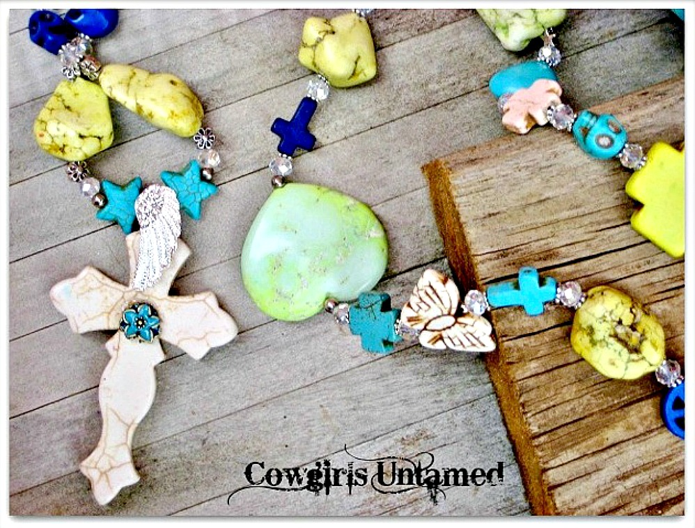 COWGIRL GYPSY NECKLACE Large Turquoise Cross Pendant on Crystal Silver N' Yellow Turquoise Beaded Long Necklace
