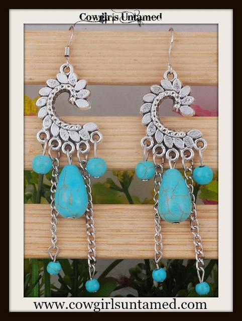 COWGIRL GYPSY EARRINGS Turquoise Droplet Charms on Antique Silver Earrings