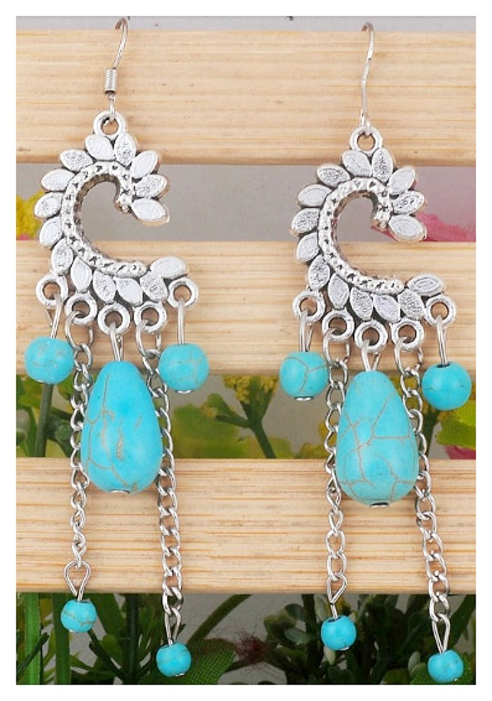 COWGIRL GYPSY EARRINGS Turquoise Droplet Charms on Antique Silver Earrings LAST PAIR