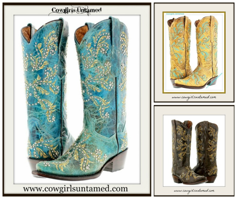 COWGIRL STYLE BOOTS Crystal N Silver Studded Genuine Leather Cowgirl Boots  3 COLORS!