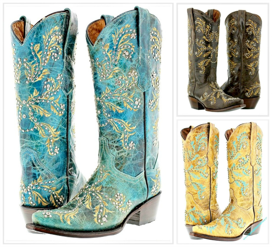 COWGIRL STYLE BOOTS Crystal N Silver Studded Genuine Leather Cowgirl Boots  3 COLORS SIZES 5-11