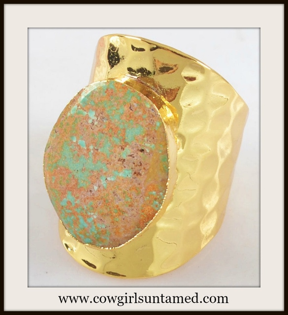 WESTERN COWGIRL RING Genuine Turquoise N Brown Gemstone Gold Plated Ring