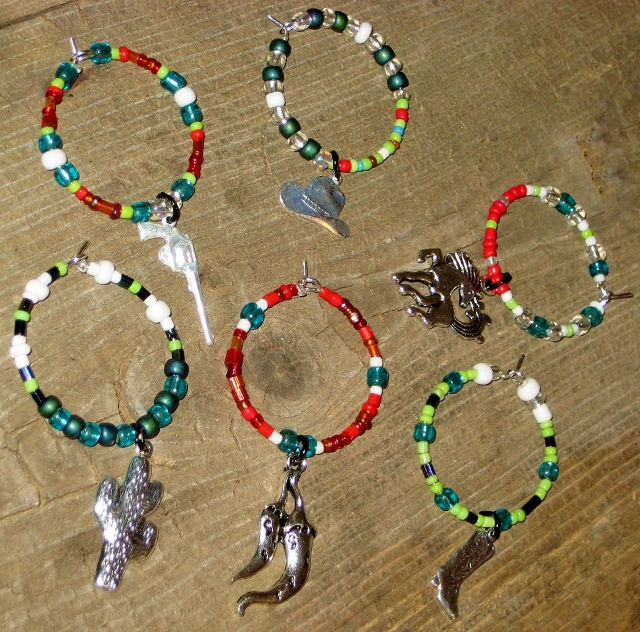 COWGIRL STYLE DECOR Turquoise LIME Green RED Dark Blue N White Beaded Western Wine Glass Charms