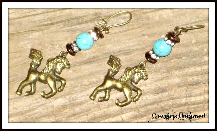 HORSE LOVIN' COWGIRL EARRINGS Antique Bronze Horse Rhinestone Turquoise Earrings