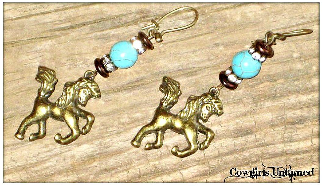 HORSE LOVIN' COWGIRL EARRINGS Custom Antique Bronze Horse Rhinestone Turquoise Earrings