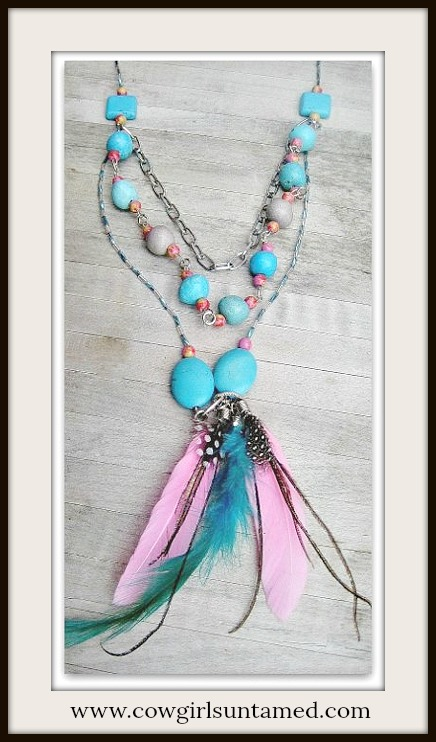 COWGIRL GLAM NECKLACE Dragonfly Charm Multi Strand Pink Aqua Turquoise Feather Long Western Necklace