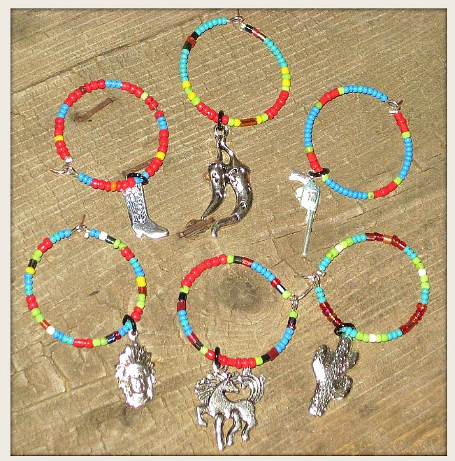 COWGIRL STYLE DECOR Turquoise RED Dark Blue Lime Green Yellow Orange N White Beaded Western Wine Glass Charms