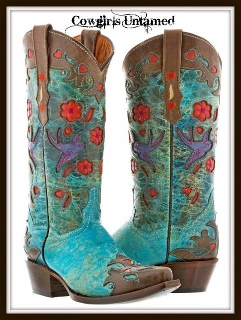 COWGIRL GYPSY BOOTS Bird and Floral inlay on Turquoise and Brown Genuine Leather Snip Toe Western Boots