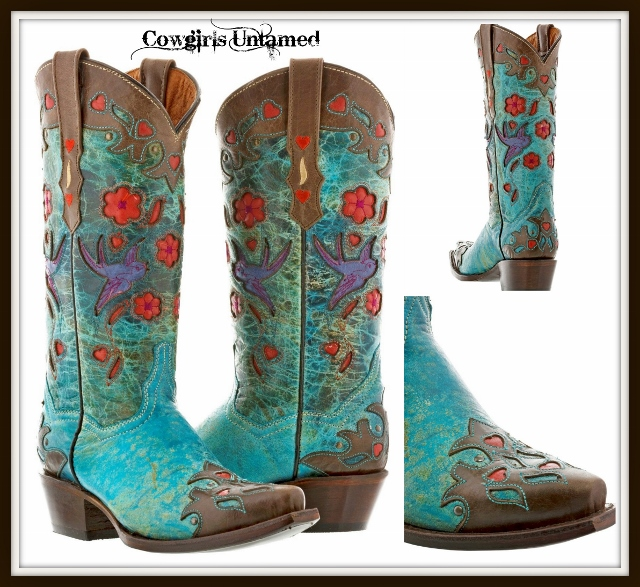 COWGIRL GYPSY BOOTS Bird and Floral inlay on Turquoise and