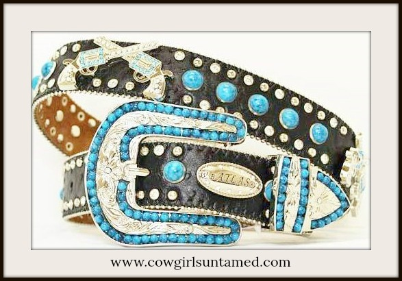 COWGIRL BELT Turquoise N Rhinestone Studded Pistol Concho Leather Western Belt